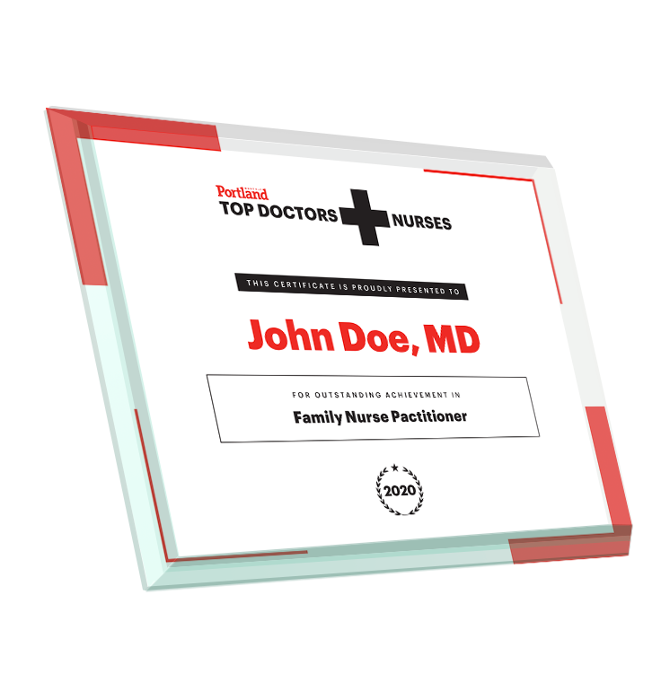 Portland Monthly Top Doctors and Nurses Glass Award Plaque by NewsKeepsake