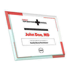 Portland Monthly Top Doctors and Nurses Glass Award Plaque