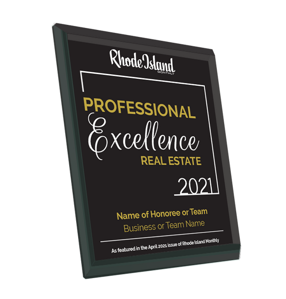 Rhode Island Monthly Excellence in Real Estate Award | Glass Plaque by NewsKeepsake
