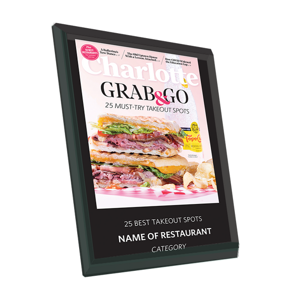 Charlotte Magazine 2021 Restaurants Award Plaque - Glass by NewsKeepsake