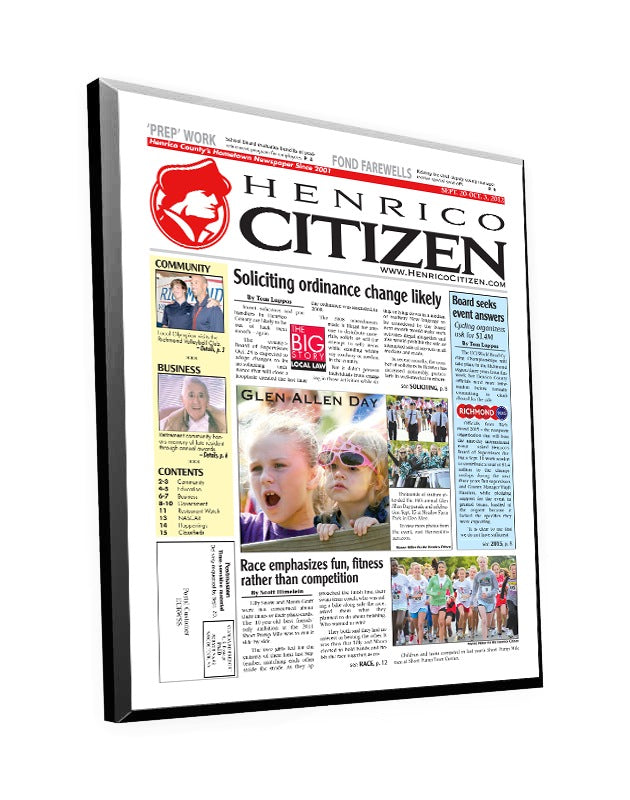 Henrico Citizen Cover Plaque by NewsKeepsake