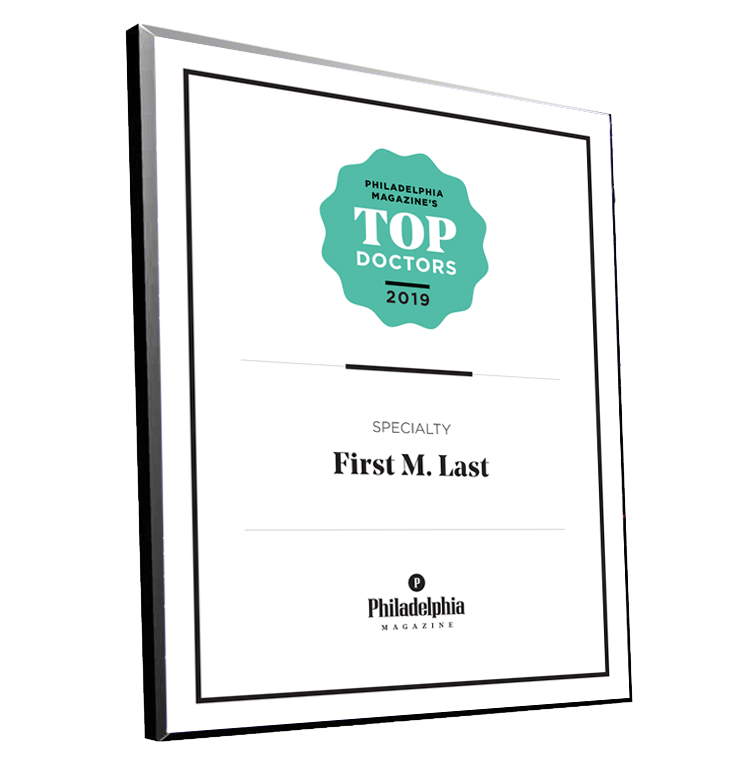 <em>Philadelphia</em> magazine Top Doctors Plaque