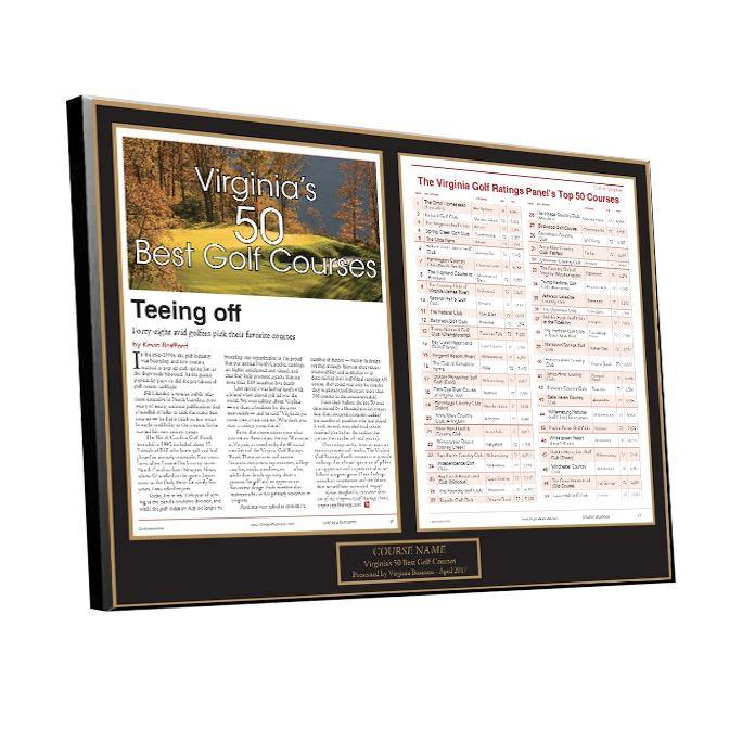 Best Golf Courses 2-Page Award Plaque