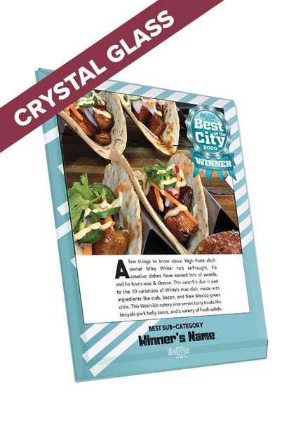 "Albuquerque The Magazine's Best of the City Feature | Crystal Glass Plaque | 8"" x 10"" by NewsKeepsake"