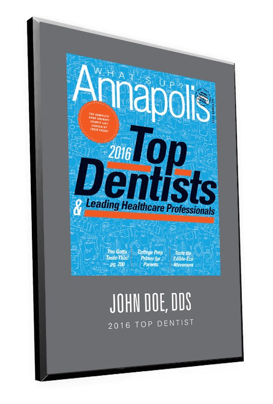 "What's Up? Magazine ""Top Dentists of Annapolis"" Award Plaque"