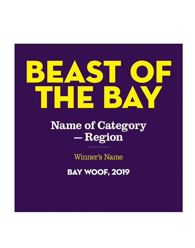 """Beast of the Bay"" Award Cling"