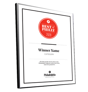 <em>Philadelphia</em> magazine Best of Philly Plaques
