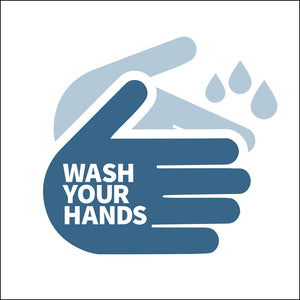 Wash Your Hands Bathroom Sign in Blue by NewsKeepsake