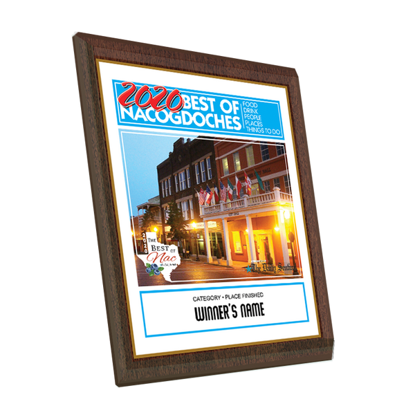"The Daily Sentinel Best of Nacogdoches 2020 Plaque - 8"" x 10"" Glass by NewsKeepsake"