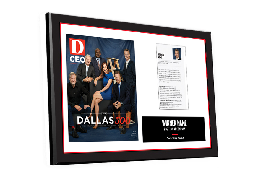 D CEO Dallas 500 Article & Cover Spread Plaque