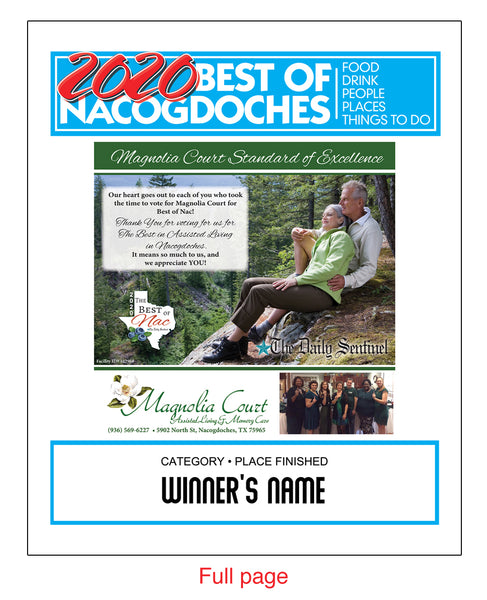 The Daily Sentinel Best of Nacogdoches 2020 with Advertisement Plaque - Modern Archival Mount