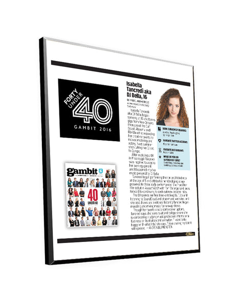 "Gambit ""40 Under 40"" Article Plaque"