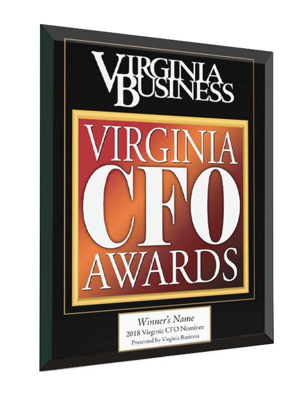 Virginia CFO Award Glass Cover Plaque