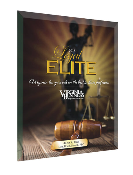 Legal Elite Glass Cover Award Plaque by NewsKeepsake