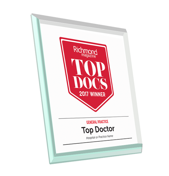 "Richmond Magazine ""Top Docs"" Logo Award Glass Plaque"