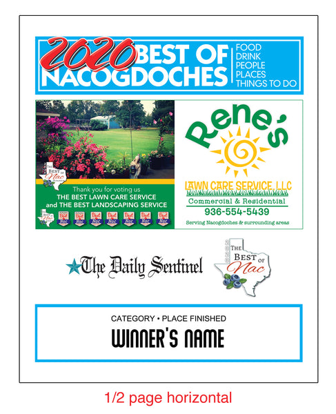 "The Daily Sentinel Best of Nacogdoches 2020 with Advertisement Plaque - 8"" x 10"" Glass by NewsKeepsake"
