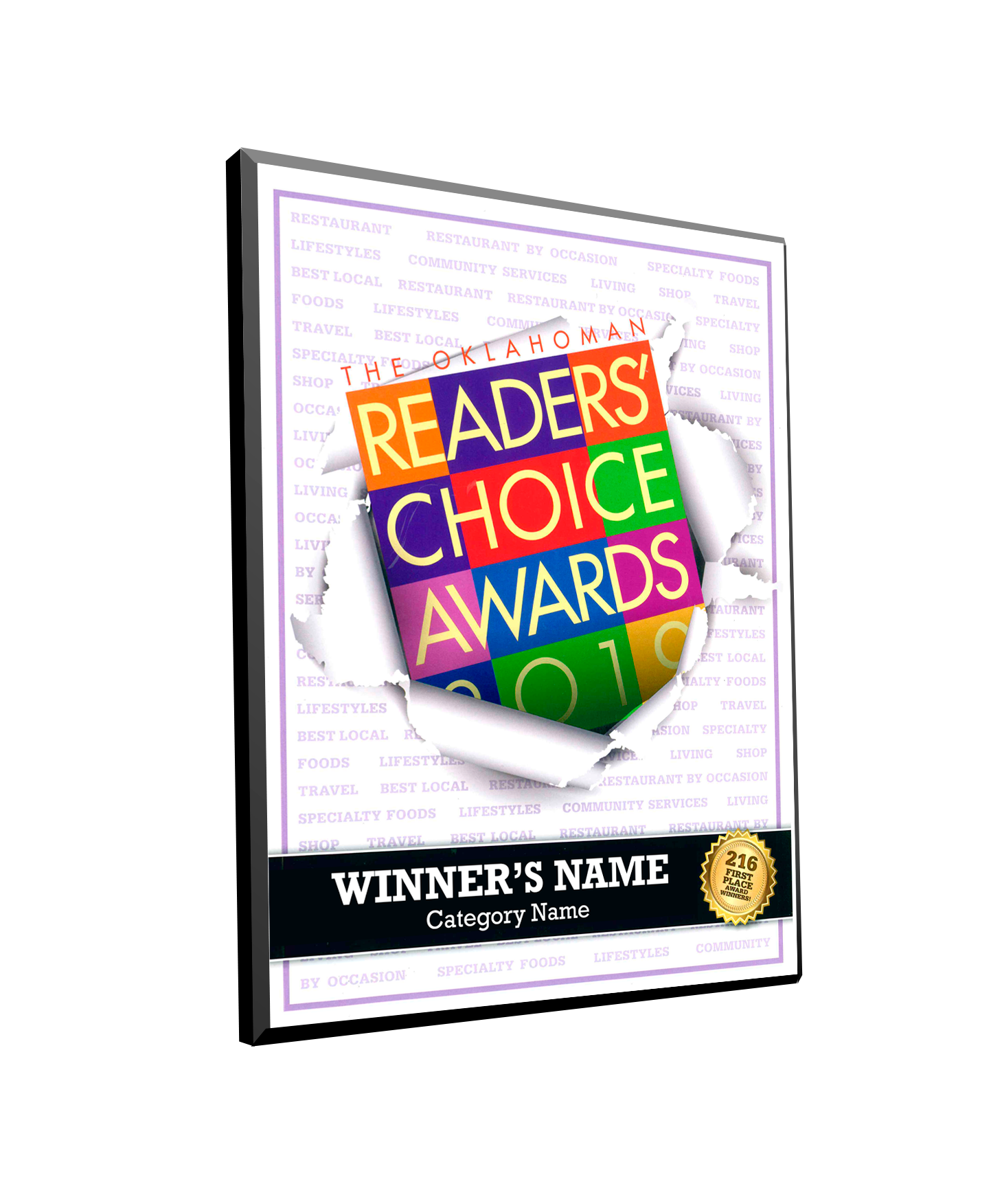The Oklahoman Readers' Choice Plaque - Modern Archival Mount