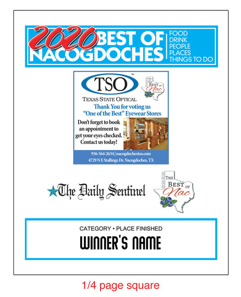 "The Daily Sentinel Best of Nacogdoches 2020 with Advertisement Plaque - 8"" x 10"" Glass"