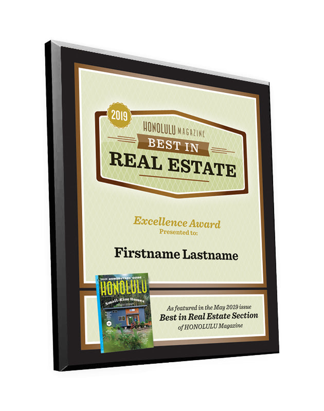 "Honolulu Magazine ""Best in Real Estate"" Award Plaque"