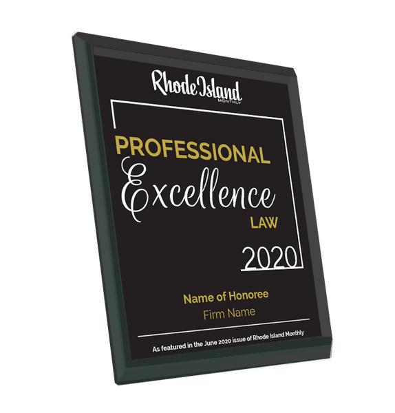 Rhode Island Monthly Excellence in Law Award | Glass Plaque by NewsKeepsake