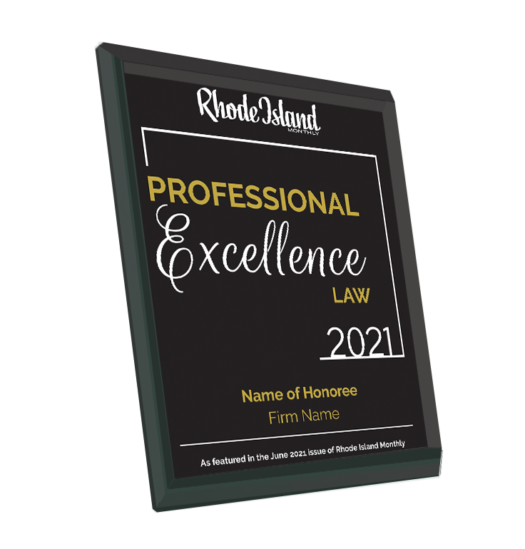 Rhode Island Monthly Excellence in Law Award | Glass Plaque