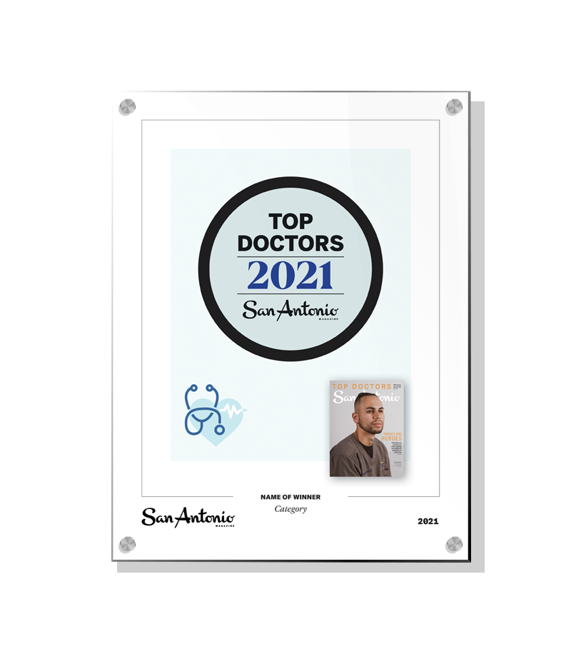"San Antonio Magazine ""Top Doctors"" Award - Acrylic Standoff Plaque by NewsKeepsake"