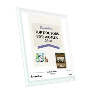 "San Antonio Magazine ""Top Doctors for Women"" Glass Cover Award Plaque by NewsKeepsake"