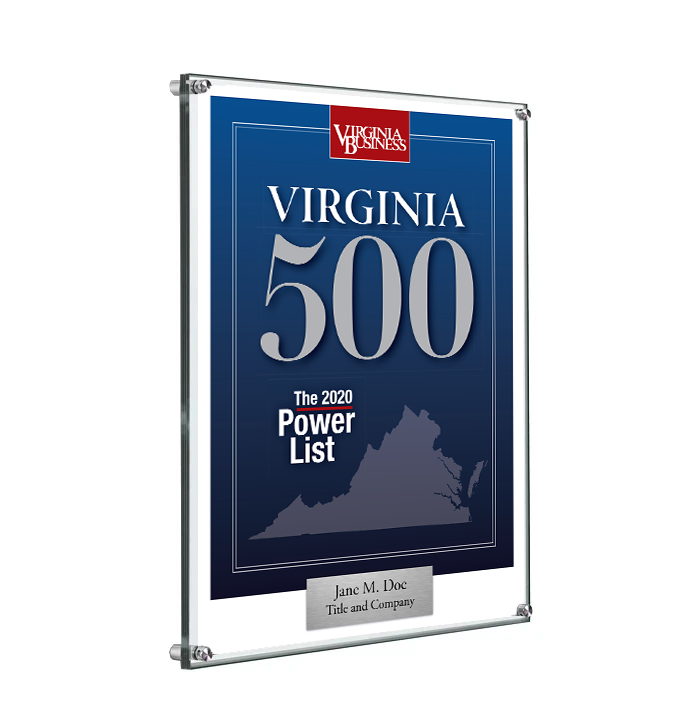 Virginia 500 Cover Award Plaque - Acrylic Standoff by NewsKeepsake