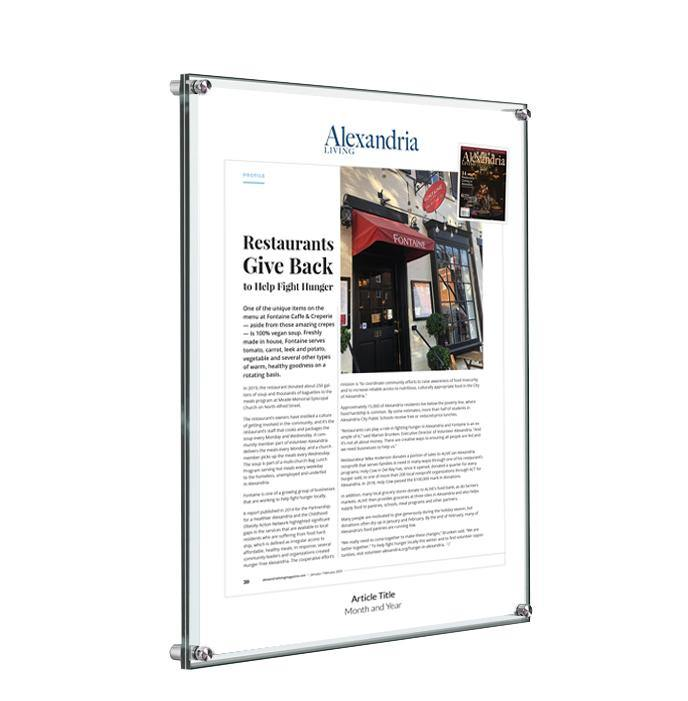 Alexandria Living Magazine Article Plaque - Acrylic Standoff by NewsKeepsake