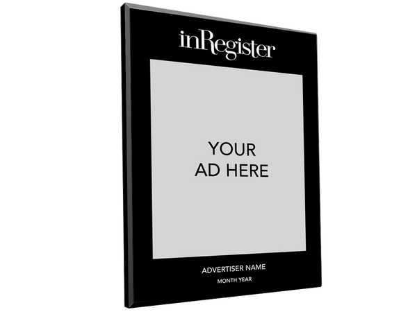 inRegister Magazine Advertiser Countertop Display Plaques