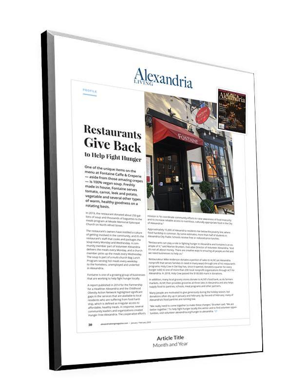 Alexandria Living Magazine Article Plaque