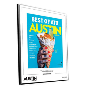 "Austin Monthly ""Best of ATX"" Mounted Archival Award Plaque"