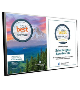 """Best of the Mid-Valley"" Cover & Logo Award Plaque by NewsKeepsake"
