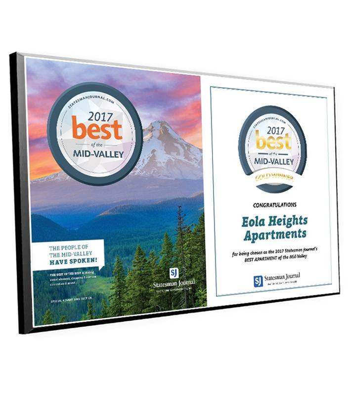 """Best of the Mid-Valley"" Cover & Logo Award Plaque"