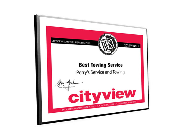 "City View ""Best of Des Moines"" Plaques"