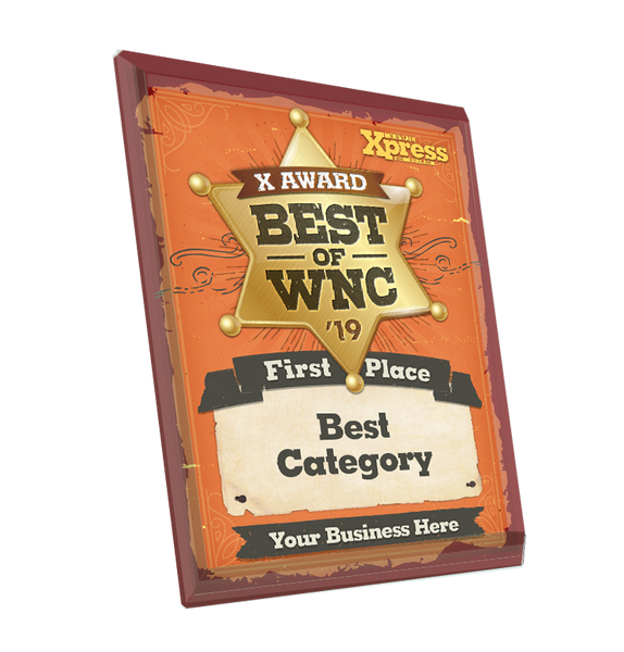 """Best of WNC"" Award Plaque - Glass"