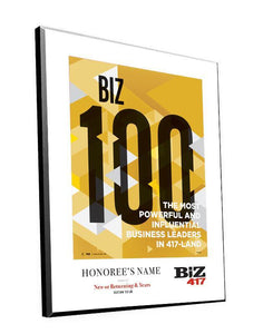 Biz 417 Biz 100 Award Plaques by NewsKeepsake