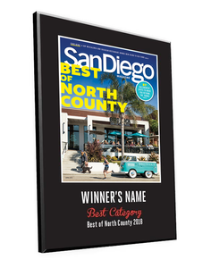 "San Diego Magazine ""Best of North County"" Award Plaques by NewsKeepsake"
