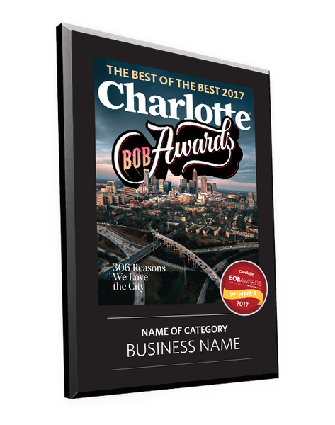 "Charlotte Magazine ""BOB"" Award Plaque"