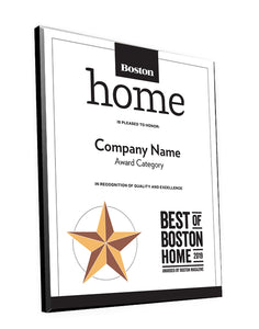 """Best of Boston Home"" Plaques"