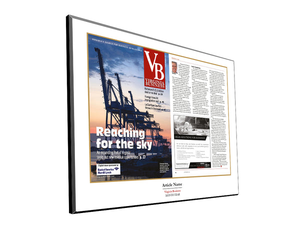 Virginia Business Cover / Article Plaque by NewsKeepsake