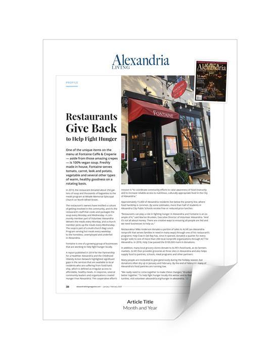 Alexandria Living Magazine Article Reprint