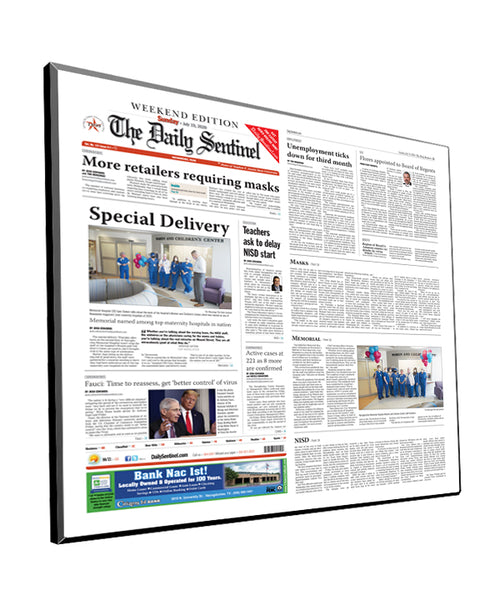 The Daily Sentinel Two-Page Plaque