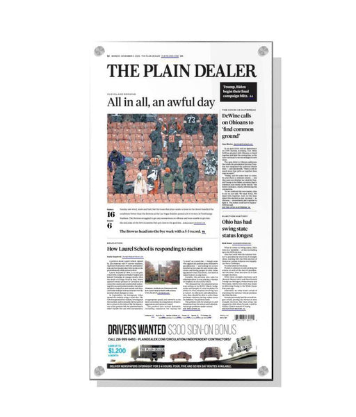 Plain Dealer Article Plaques | Acrylic Standoff by NewsKeepsake