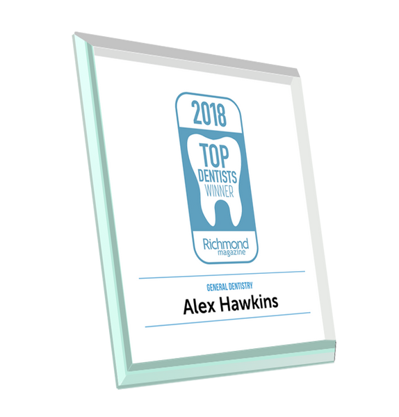 "Richmond Magazine ""Top Dentists"" Logo Award Glass Plaque"