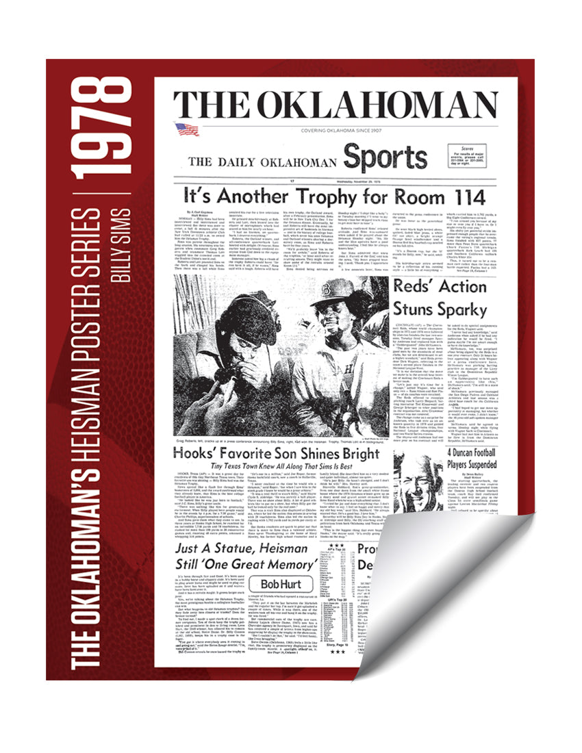 Oklahoman Heisman Trophy Winner Poster - Billy Sims 1978 by NewsKeepsake