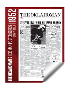 Oklahoman Heisman Trophy Winner Poster - Billy Vessels 1952 by NewsKeepsake
