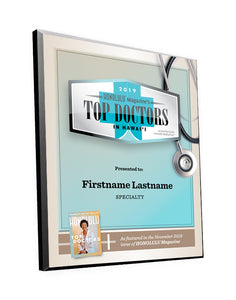 "Honolulu Magazine ""Top Doctors"" Award Plaques"