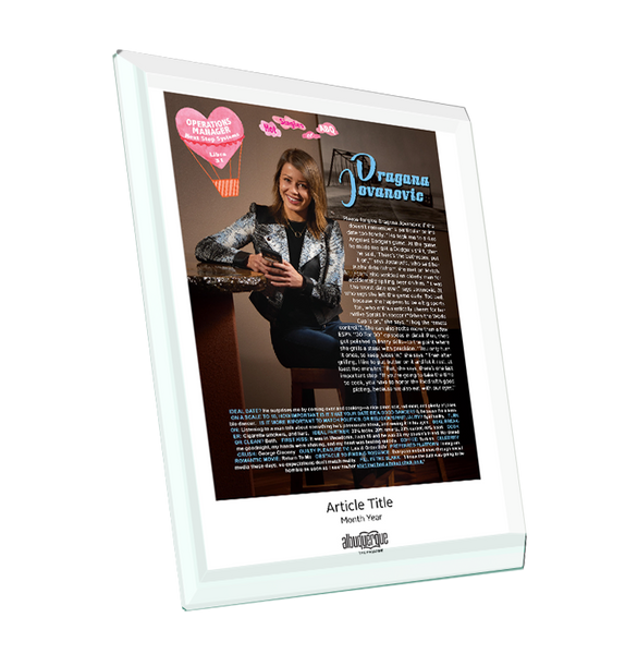 "Albuquerque The Magazine's Article Feature | Crystal Glass Plaque | 8"" x 10"""
