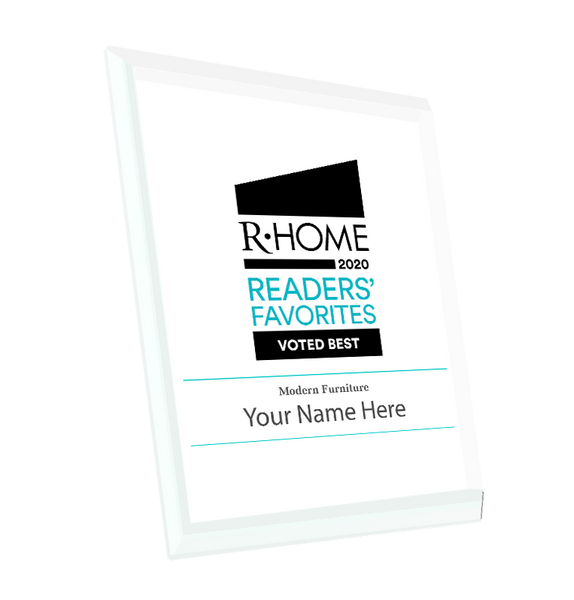 "R-Home ""Readers' Favorites"" Logo Award Glass Plaque"